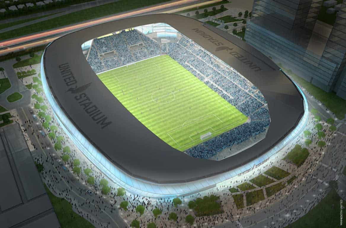 Rendering of soccer stadium from overhead at night with glowing lights