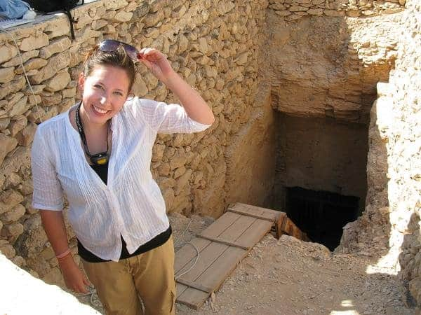 Kate Hunt in Egypt outside stairs to a tomb