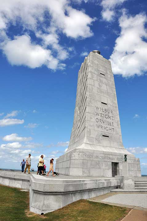Wright Borothers National Monument, towering stone obilesk pointing towards the sky