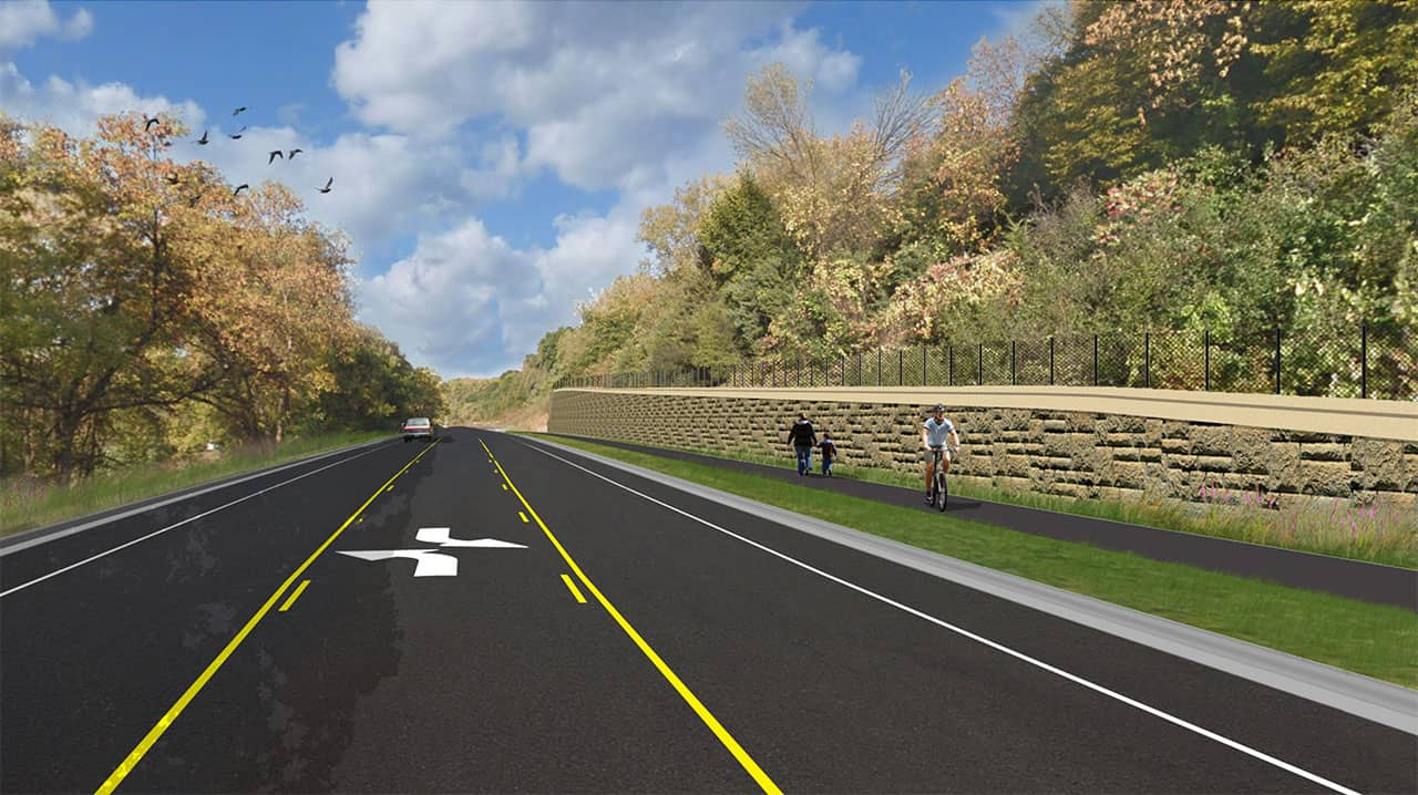 Visualization of what Flying Cloud Drive might look like after construction. Bike path with cyclist and walkers on right.