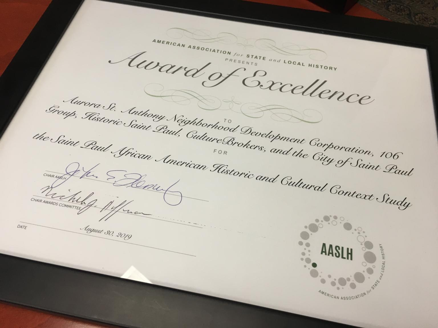 AASLH Presents Award of Excellence to 106 Group
