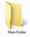 Windows desktop folder icon with a label Main Folder